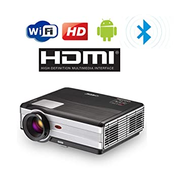 4000 Lumen Proyector WiFi Bluetooth Inalámbrico HD 1080P Soporte LED Home Cinema Proyectores de Cine al Aire Libre HDMI USB VGA AV Audio Airplay para ...