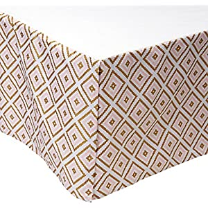 American Baby Company 100% Cotton Tailored Crib Skirt with Pleat, Sparkle Gold/Pink Kilim