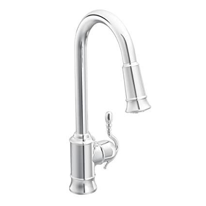 Moen 7615C Woodmere One-Handle Traditional Pulldown Kitchen Faucet with  Power Clean, Chrome