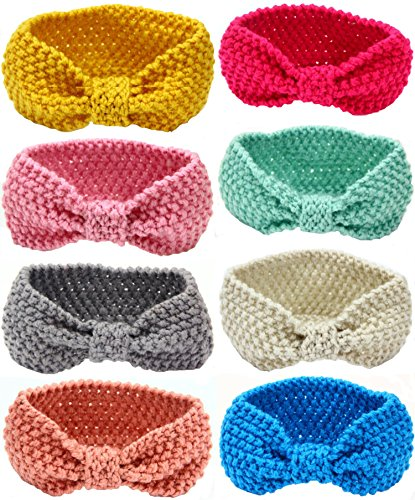 Toptim Baby Turban Girl Headbands Head Wrap Knotted Hair Band for Photographic 8 Pack
