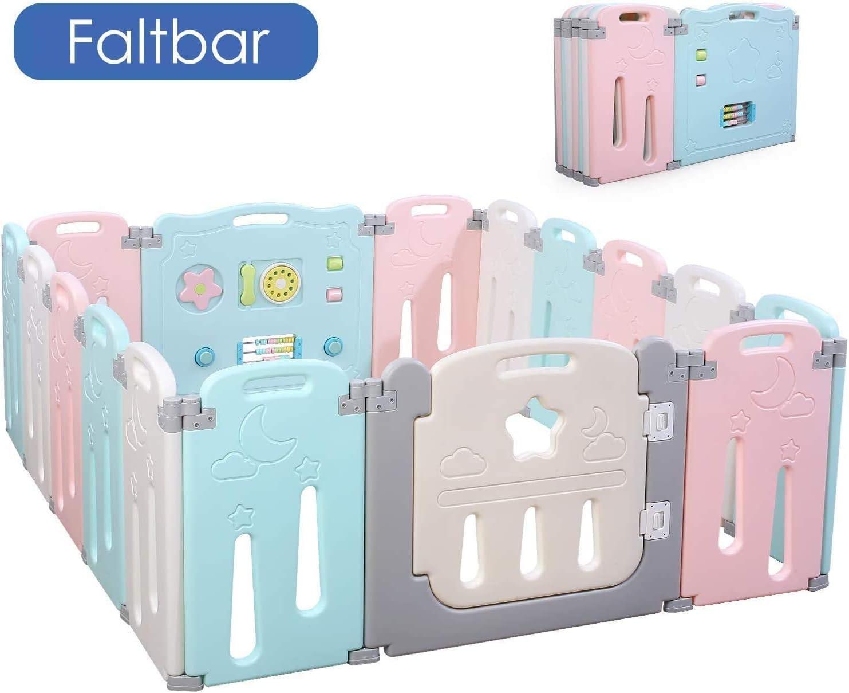 Bamny Valla Infantil Puerta de Seguridad de Plástico para Bebés Con Puerta para Niños de 10 Meses a 6 Años (14 + 2)