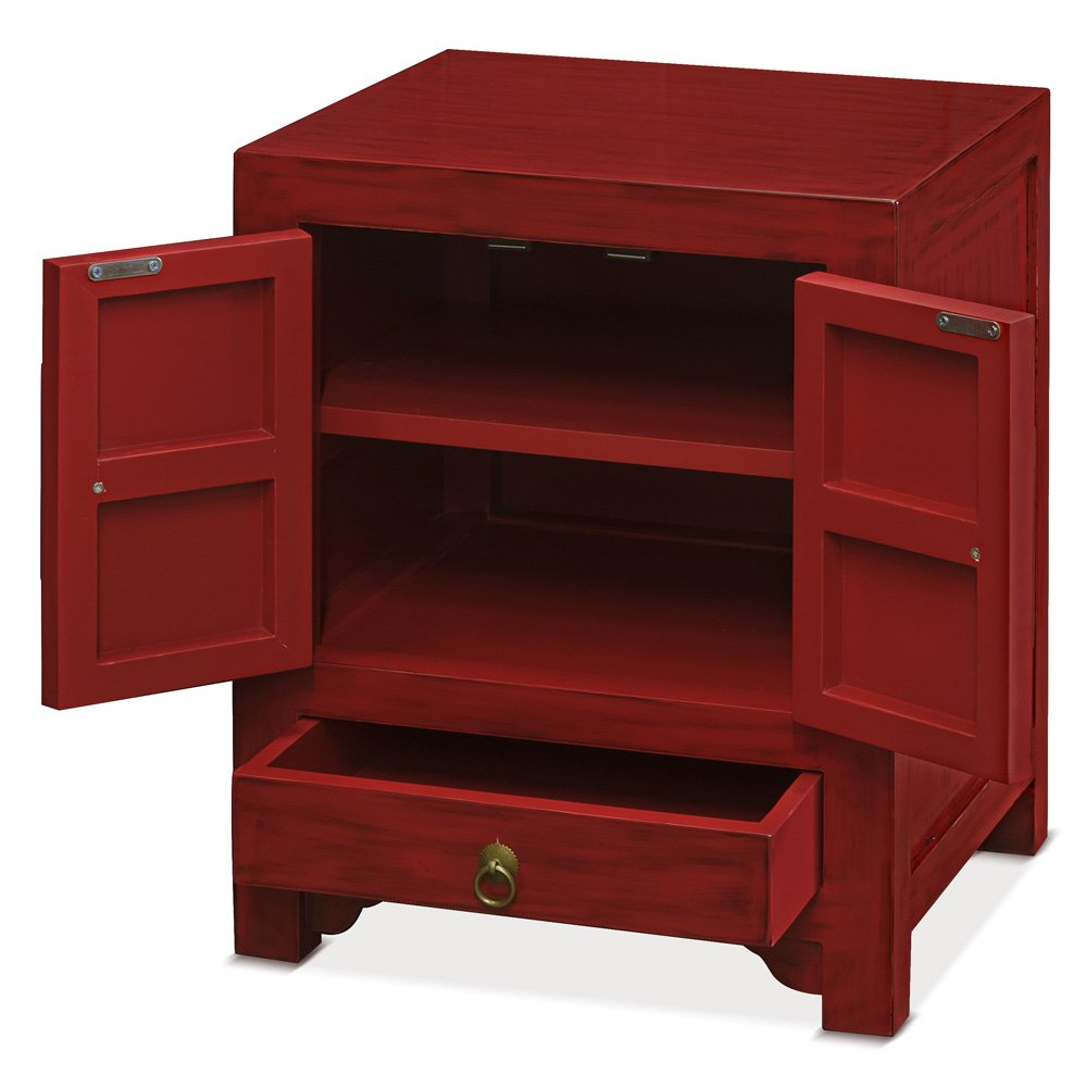 ChinaFurnitureOnline Elmwood Cabinet, Ming Style Night Stand or End Table Distressed Red Finish
