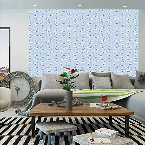 (Baby Huge Photo Wall Mural,Teddy Bears Hearts Love Themed Illustration Cartoon Toy Pattern Dotted Background Decorative,Self-adhesive Large Wallpaper for Home Decor 100x144 inches,Baby Blue White)