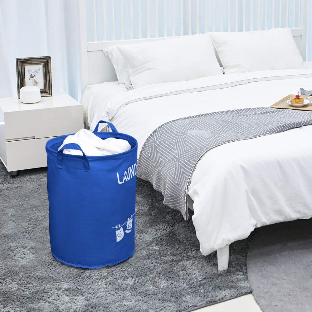 Aokebeey W/äschekorb Faltbar 45 x 35 cm Blau W/äschesack W/äschek/örbe W/äschesammler Faltbox Laundry Baskets Aufbewahrungskorb mit PU-Griffen