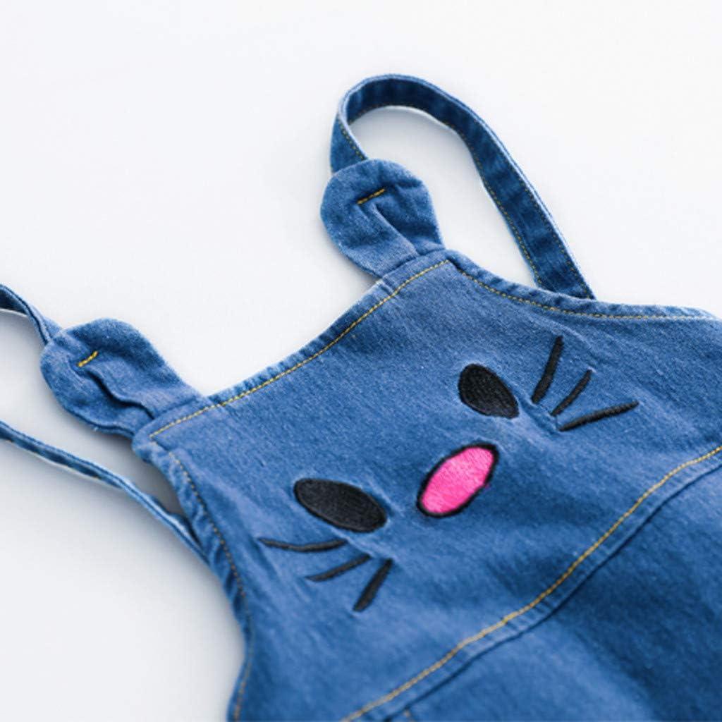 Cartoon Cat Print Denim Strap Skirt Two-Piece Suit Toddler Kids Girls Letter Tops