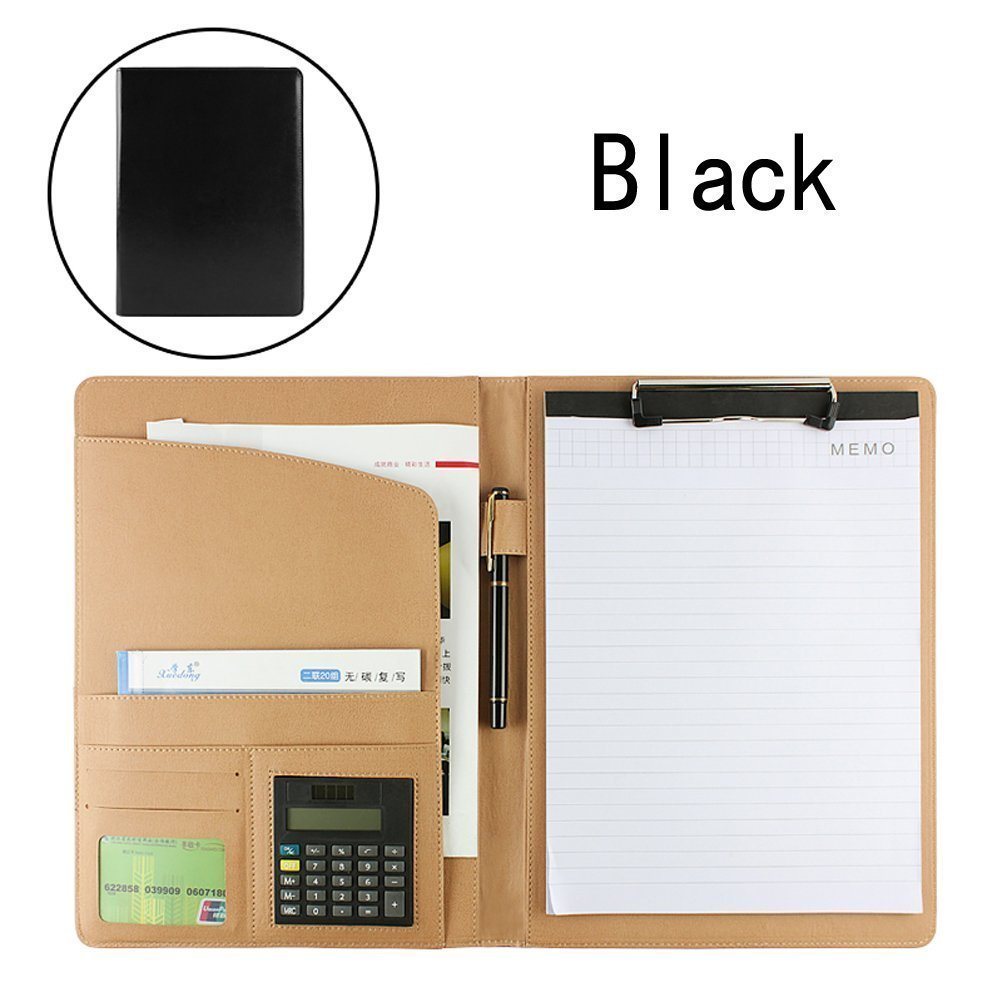 PU Leather Portfolio Folder with Pockets Clipboard A4 Letter Size Writing Pad with Calculator Inside (Black)