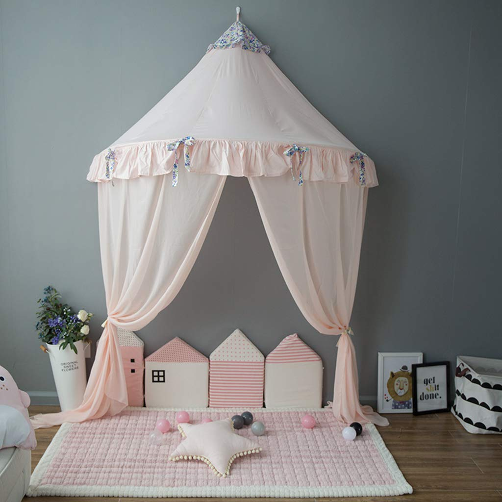 OldPAPA Bed Canopy Lace Mosquito Net with Gauze Curtain Unique Pendant Play Tent Bedding for Kids Playing Reading with Children Round Dome Netting Curtains Baby Boys Girls Room Decoration,Pink