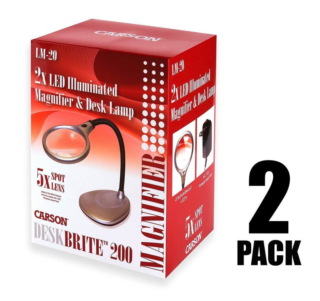 LM-20 Carson DeskBrite 200 LED Illuminated Magnifier /& Desk Lamp