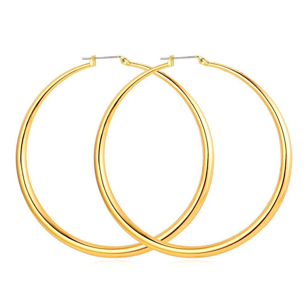 Amazon.com: u7 Moda Mujeres Gold Plated Ronda arete De Aro ...