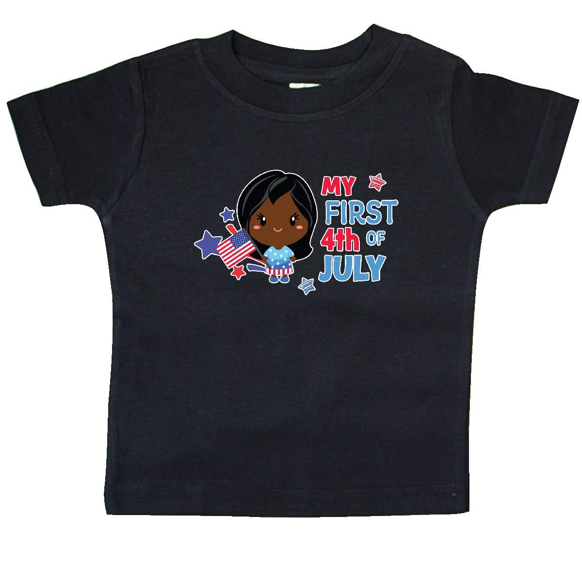 inktastic My First 4th of July with Black Haired Girl Stars and Baby T-Shirt