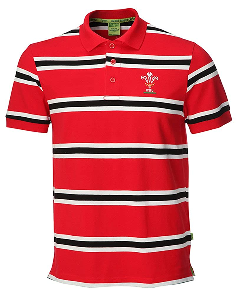 WRU Welsh Rugby 2015 Polo de rayas camiseta, rojo, XXXL: Amazon.es ...