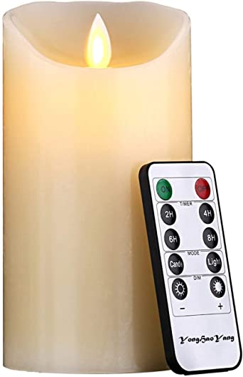 1 * 1, Ivory LED Candles,Flameless Candles 6 Height Dia 3.25 Ivory Dripless Real Wax Pillars Include Realistic Dancing LED Flames and Remote Control,Gift Decoration for Party,Holiday