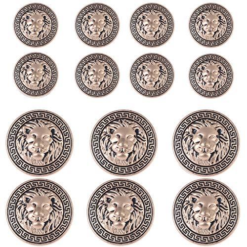 14 Pieces Gold Vintage Antique Metal Blazer Button Set - 3D Lion Head - for Blazer, Suits, Sport Coat, Uniform, Jacket 18mm 23mm ()