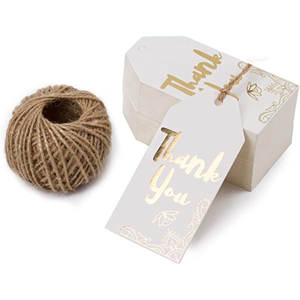 FREE TWINE STRING 100 PACK OF WHITE KRAFT WEDDING BONBONNIERE GIFT PAPER TAGS