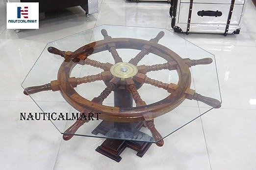 Mesa náutica de Madera con Ruedas, decoración náutica, Rueda de ...