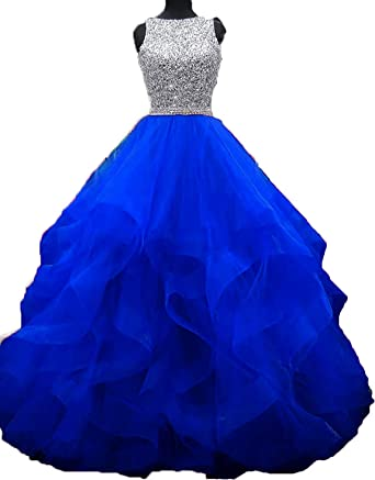 fdefe25c9a Little Star Women Sheer Neck Royal Blue Prom Dresses 2018 Long Sexy A Line  Formal Dresses