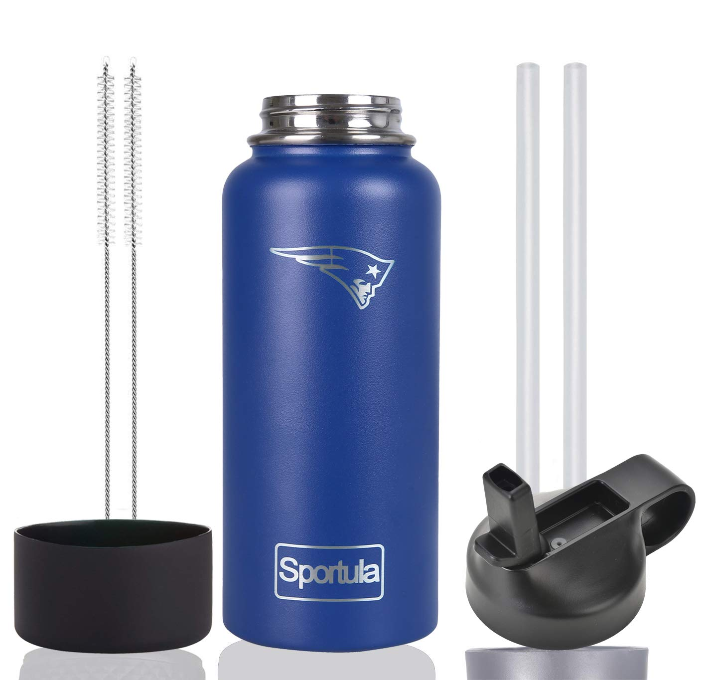 Sportula NFL 40 oz Water Bottle - Stainless Steel & Vacuum Insulated - Wide Mouth with Straw Lid - 2 Straws & 2 Brushes and 1 Protective Boot (Cobalt New England Patriots) by Sportula