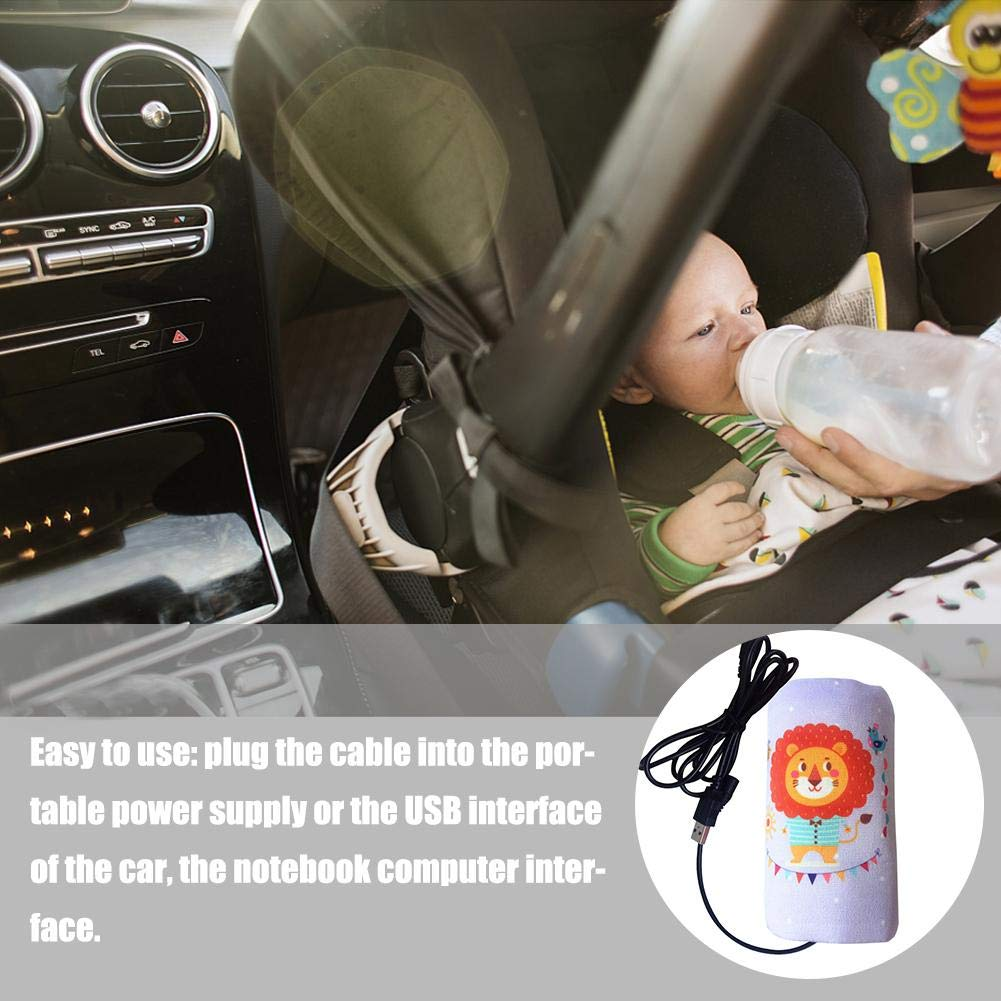 Flickering Baby Bottle USB Warmer Bag,Travel Car Baby Bottle Warmer Composite Heating Element Warming Bag Heating Milk Baby Bottle Warmer Bag
