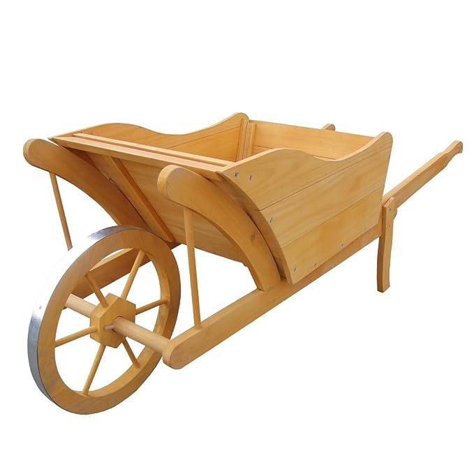 Portavaso Fioriera in legno Carriola 100x30x40