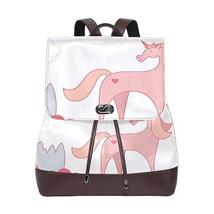DEZIRO- Mochila Escolar de Piel Rosa Unicornio Mochilas Bolsa de Viaje
