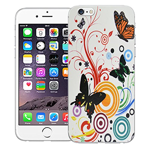 "Mobile Case Mate iPhone 6S 4.7"" Silicone Coque couverture case cover Pare-chocs + STYLET - Swirl Butterfly pattern (SILICON)"