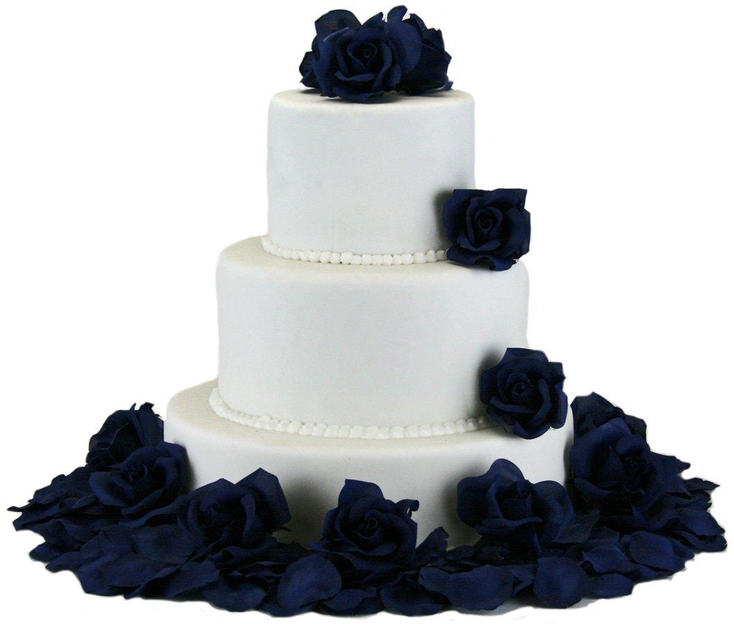 TheBridesBouquetcom-Navy-Silk-Rose-Cake-Flowers-Reception-Decoration