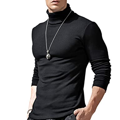 634865ff0adadf Acooe Mens Roll Necks Polo Neck Tops Plain Winter Ski Golf Quality Stretch  Jersey Cotton by Linxii (Black, Lable XL=UK M): Amazon.co.uk: Clothing