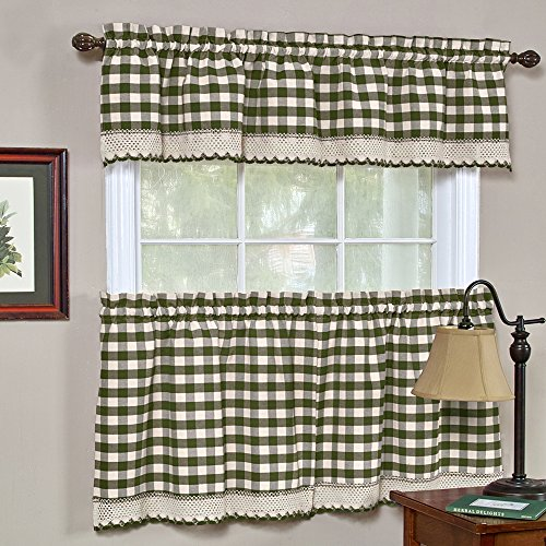 - Designer Home Window Panel Curtain Checkered Drape 3-Piece Tier Valance Set Plaid Gingham Check Sage