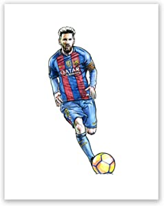 AtoZStudio A52 Lionel Messi Poster // Art Print // Soccer Wall Decor // Football Player // Famous Picture // Barcelona Fan Gift // Sport (8x10)