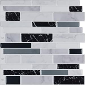 10-Sheet Peel and Stick Tile Backsplash, Vinyl 3D Self-Adhesive Tile Stickers for Kitchen, Bathroom, Counter Top, Marble 78