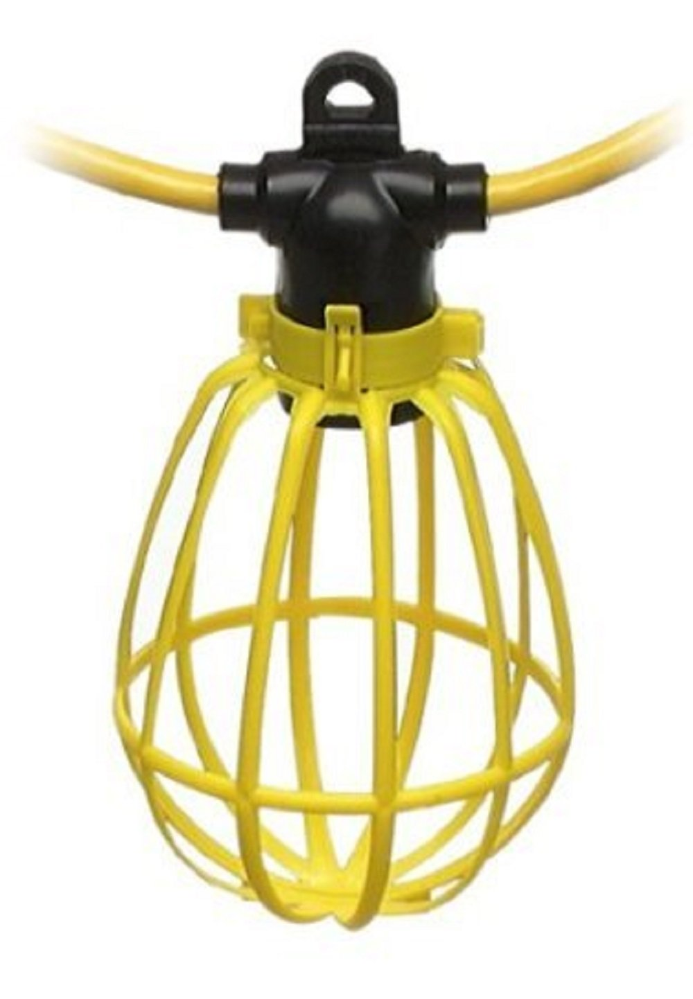 100 Foot Outdoor Yellow Commercial Contractor-Grade Plastic Cage String Lights 100FT 10 Sockets by Sterl Lighting