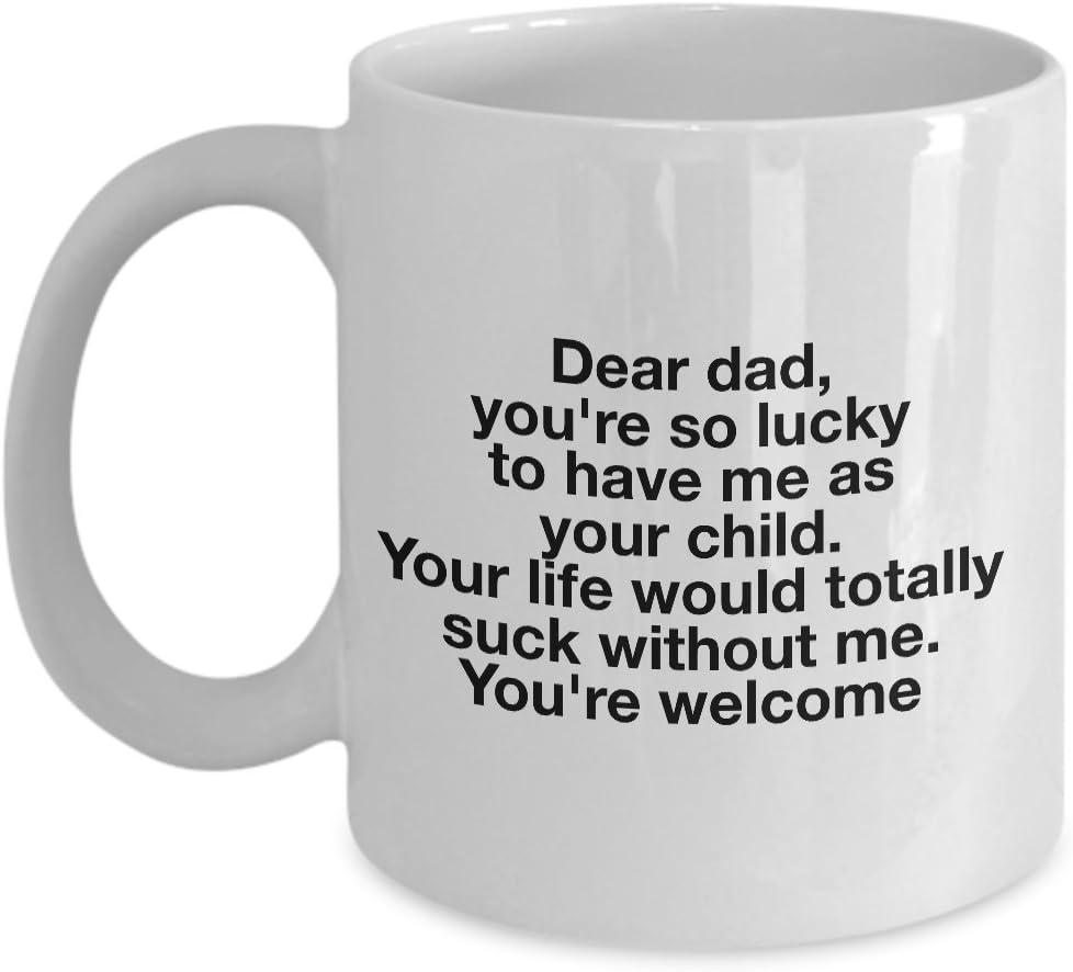 Dad Coffee Mug Cute Dad Mug Gift Lucky the World/'s Best Dad Belongs to Me