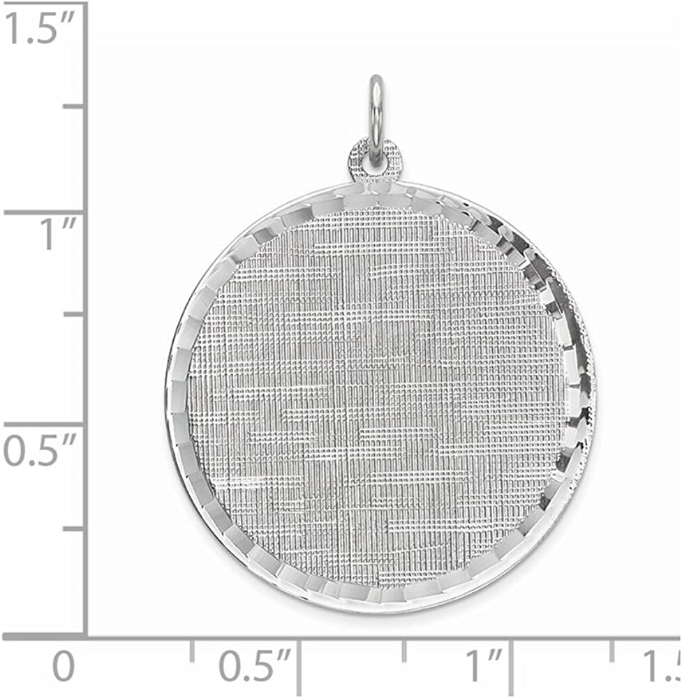 925 Sterling Silver Rh Plt Engraveable Round Patterned Front Back Disc Necklace Pendant Charm Engravable Fine Jewelry For Women Gifts For Her