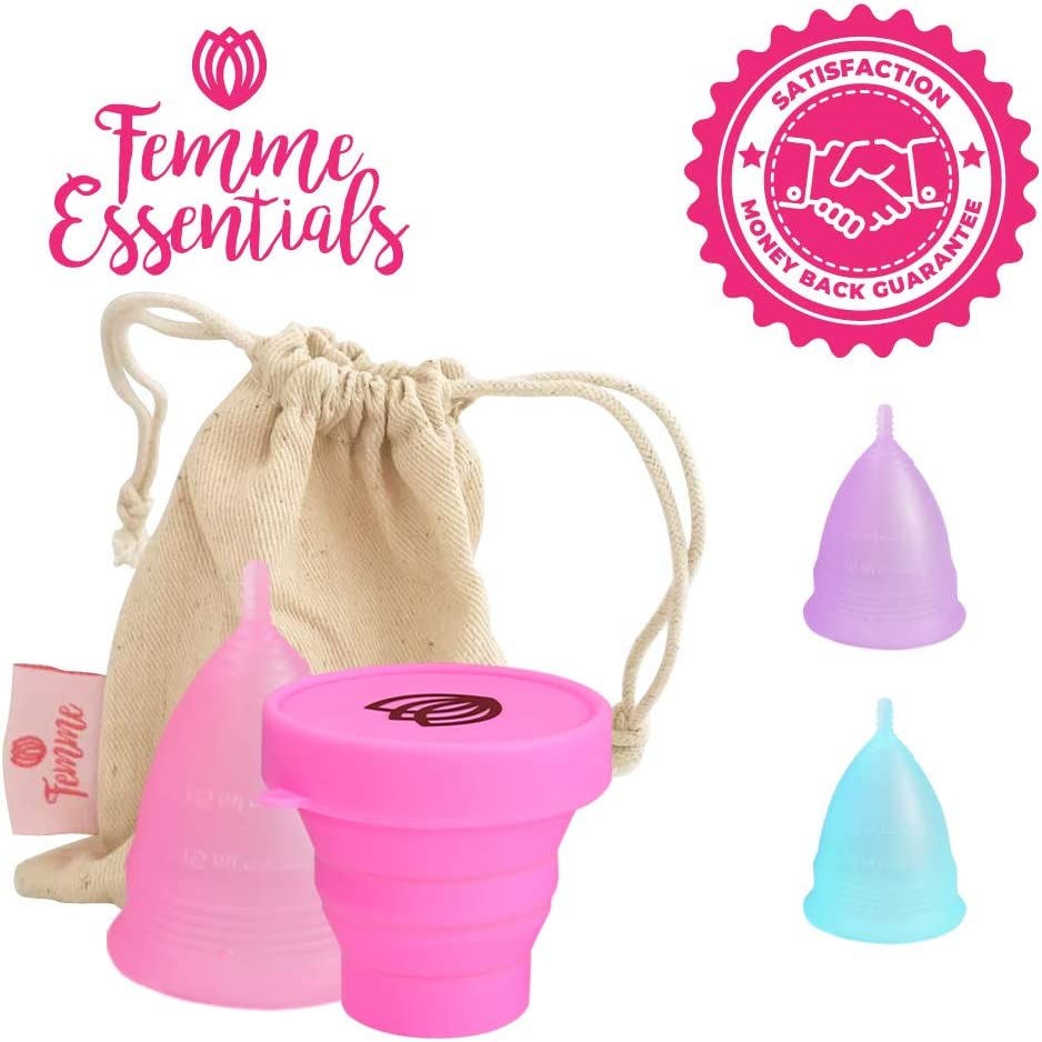 Size: Large Femme Essentials Menstrual Cup Reusable Cup Free Cotton Pouch Tampon Replacement from Medical Grade Silicone Foldable Sterilizer Colour: Pink