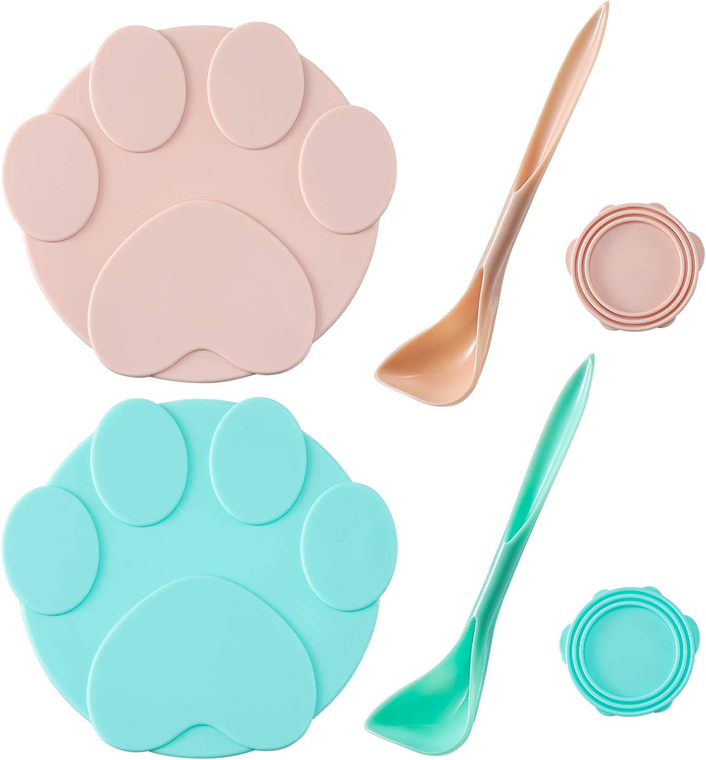 2 Pieces Cute Pet Food Can Lids with 2 Spoons, Silicone Can Lids Covers for Dog and Cat Food, Universal Silicone Cat Food Can Lids 1 Fit 3 Standard Size, Pink and Blue