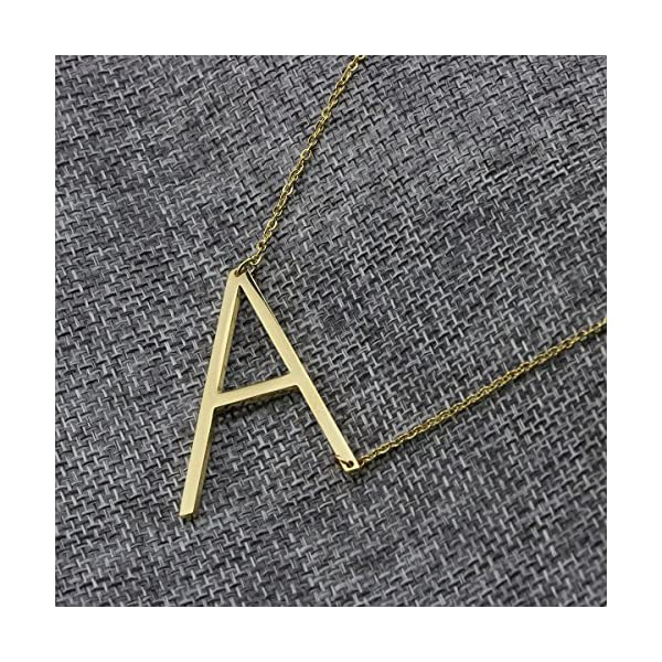 Yiyangjewelry Initial Necklace 18K Real Gold Plated Stainless Steel Jewelry 26 Big Alphabets Script Personalized Gift Name Pendant A-Z