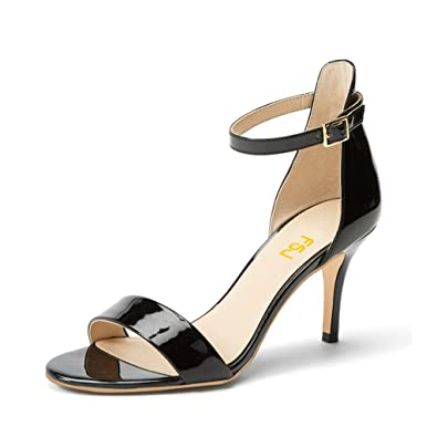 ee6778578591 FSJ Women Comfy Open Toe Summer Sandals Ankle Strap Kitten Mid Heels Shoes  Patent Leather Size