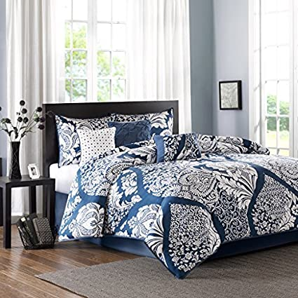 Etonnant Madison Park Vienna Cal King Size Bed Comforter Set Bed In A Bag   Indigo  Blue