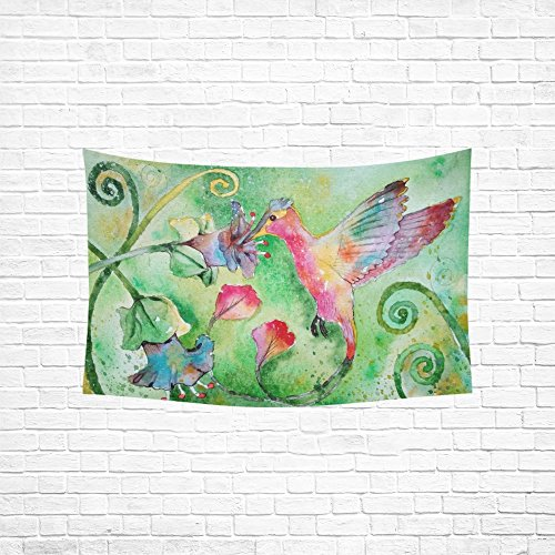 TIANYUSS Tapestry Figure Bird Painting Hummingbird Flowers Nature Hippie Tapestries Wall Hanging Flower Tapestry Wall Hanging Dorm Decor For Living Room Bedroom 60 X 40 Inch