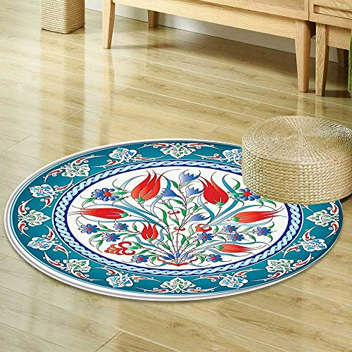 (Round Area Rug Carpet Flower Decorations Historical Traditional Medieval Turkish Ornate Tulip Flowers Round Frame Print Teal Red White Living Dinning Room and Bedroom Rugs R-35)
