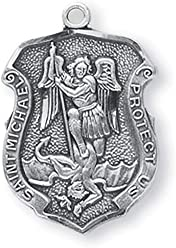H&M Saint Michael Medal 13/16 Inch Sterling Silver Shield Shaped Pendant