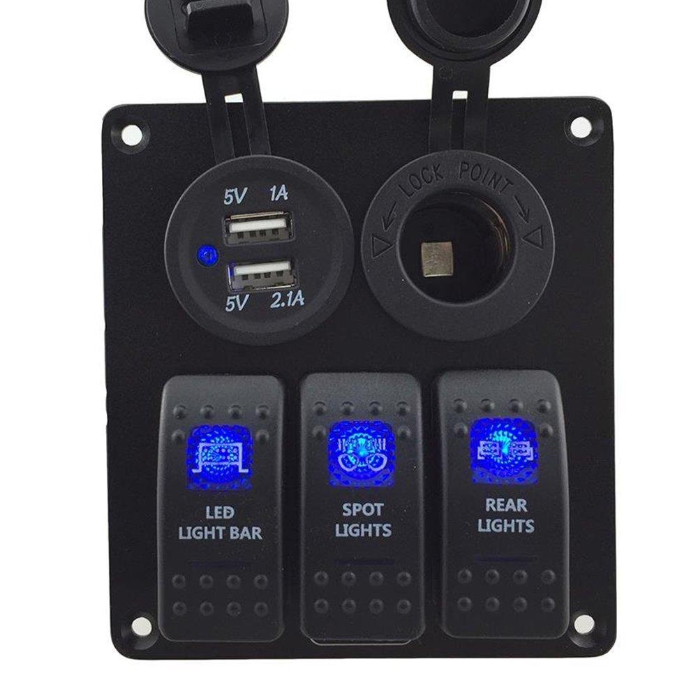 IZTOSS 3 Gang Rocker Switch Panel with Power Socket 3.1A Dual USB Wiring Kits DC12V/24V for Marine Boat Car Rv Vehicles Truck Blue led by IZTOSS