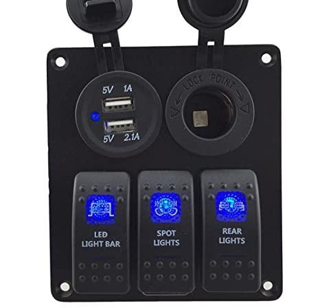 Awe Inspiring Iztoss 3 Gang Rocker Switch Panel With Power Socket 3 1A Dual Usb Wiring Kits And Decal Sticker Labels Dc12V 24V For Marine Boat Car Rv Vehicles Truck Wiring Cloud Mangdienstapotheekhoekschewaardnl