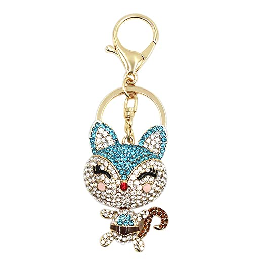 Amazon.com  Cute Fox Rhinestone Keychain Bling Glitter Keyring Bag ... 74c8e3333