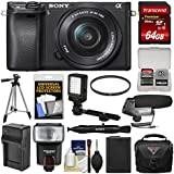 Sony Alpha A6300 4K Wi-Fi Digital Camera & 16-50mm Lens (Black) 64GB Card + Case + Flash + LED Video Light + Mic + Battery & Charger + Tripod + Kit