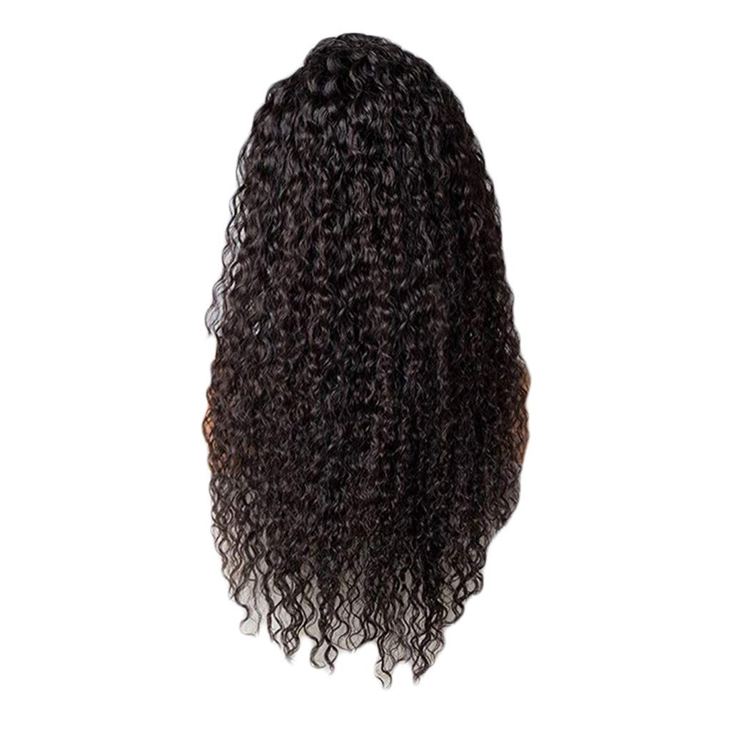Iusun Wigs,24'' Front Lace Black Women's Long Curly Wavy Resistant Synthetic Extensions Cosplay Costume Daily Party Anime Hair Full Wig High Temperature Fiber (Black) by Iusun Beauty
