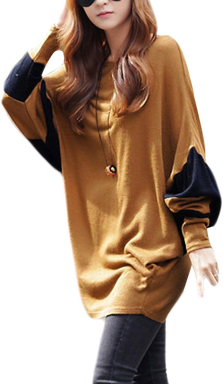 Mujeres Vintage Manga Farol Colorblock T Camisa Blusa Oversize Busto 156cm Brown One Size: Amazon.es: Ropa y accesorios