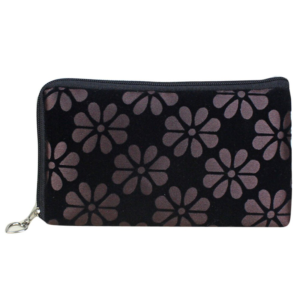 Thenxin Women Floral Printing Coins Change Purse Clutch Zipper Wallet Phone Key Bag (Coffee)