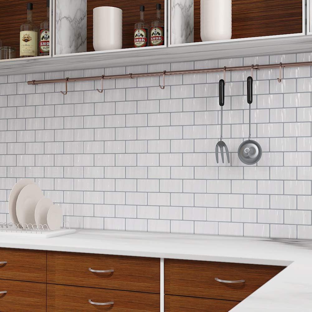 5 sheets Tic Tac Piastrelle adesive 3D autoadesive per piastrelle da cucina e bagno in Como bianco