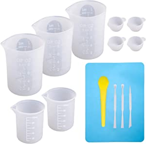 Large Silicone Measuring Cups and Tools Set Silicone Mixing Cups Stir Sticks Spoons Silicone Mat for Epoxy Resin Casting DIY Slime Art Making Waxing Kitchen